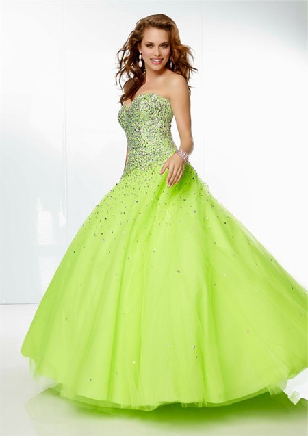 af42800d0c8 Gorgeous Ball Gown Sweetheart Lime GreenTulle Beaded Prom Dress Corset Back