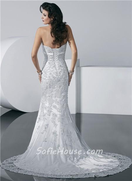 Gorgeous mermaid strapless summer beach lace wedding dress for Belt for lace wedding dress