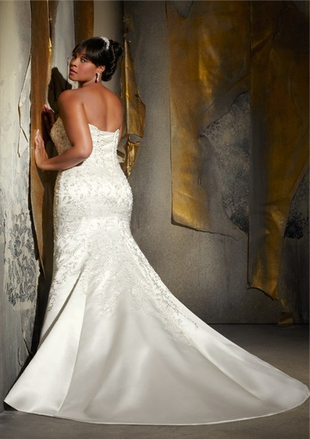 ... Gorgeous Mermaid Sweetheart Embroidered Satin Beaded Plus Size Corset  Wedding Dress ...