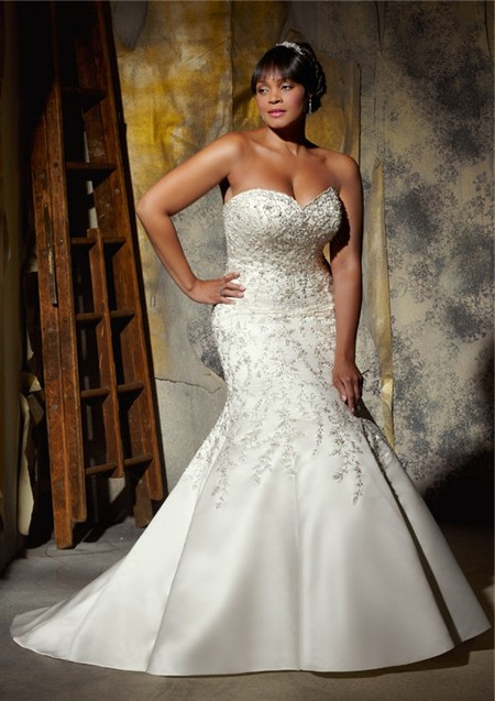 Satin Beaded Wedding Dress
