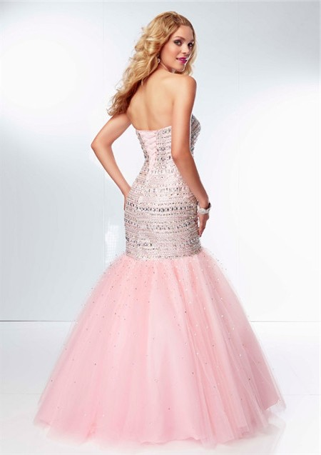 baea28265309 Gorgeous Mermaid Sweetheart Light Pink Tulle Beaded Sparkly Prom Dress  Corset Back