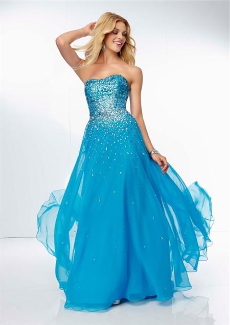 short sky blue sweetheart strapless chiffon dress