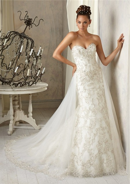 Vintage mermaid sweetheart tulle lace beaded wedding dress for Detachable train wedding dress