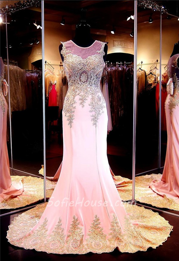 399d86592bf ... Mermaid Illusion Scoop Neck Pink Chiffon Gold Lace Applique Prom Dress  ...