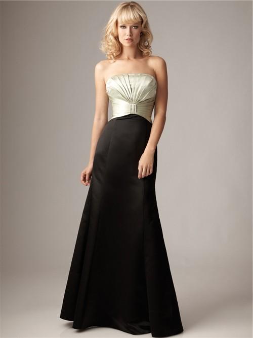 Empire Strapless Floor Length Long Ivory And Black Satin Bridesmaid Dress