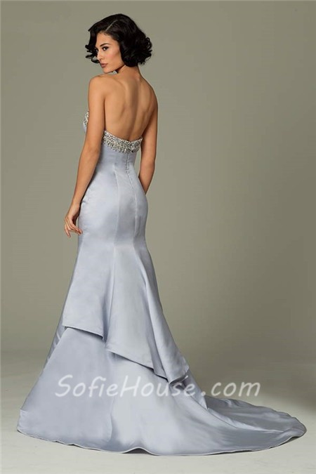 Mermaid Strapless Long Dusty Blue Satin Beaded Occasion Evening Dress