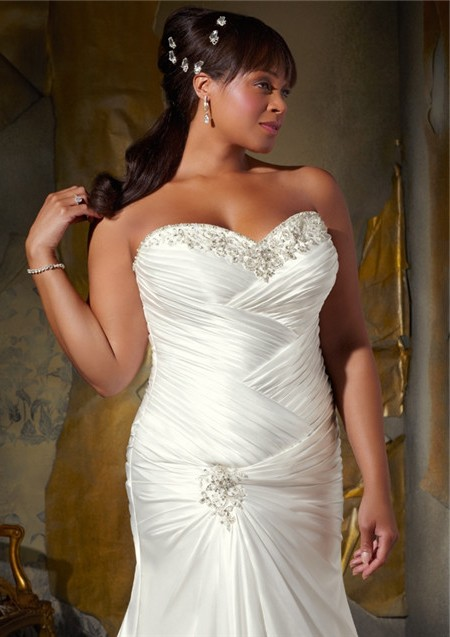 Mermaid sweetheart corset back draped satin plus size for Plus size silk wedding dresses