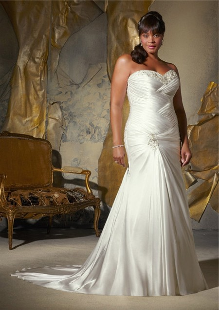 Mermaid sweetheart corset back draped satin plus size for Free plus size wedding dress catalogs