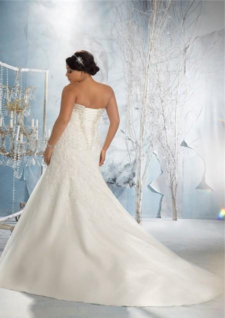 Mermaid Sweetheart Empire Corset Back Lace Organza Plus Size Wedding ...