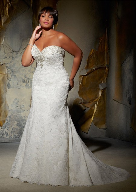 Mermaid sweetheart neckline plus size lace beaded wedding for Free plus size wedding dress catalogs
