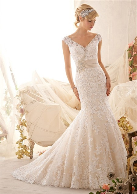 Mermiad V Neck Cap Sleeve Low Back Satin Lace Wedding ...
