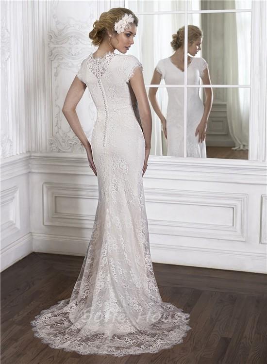 Modest mermaid v neck high back cap sleeve vintage lace for Mermaid v neck wedding dress