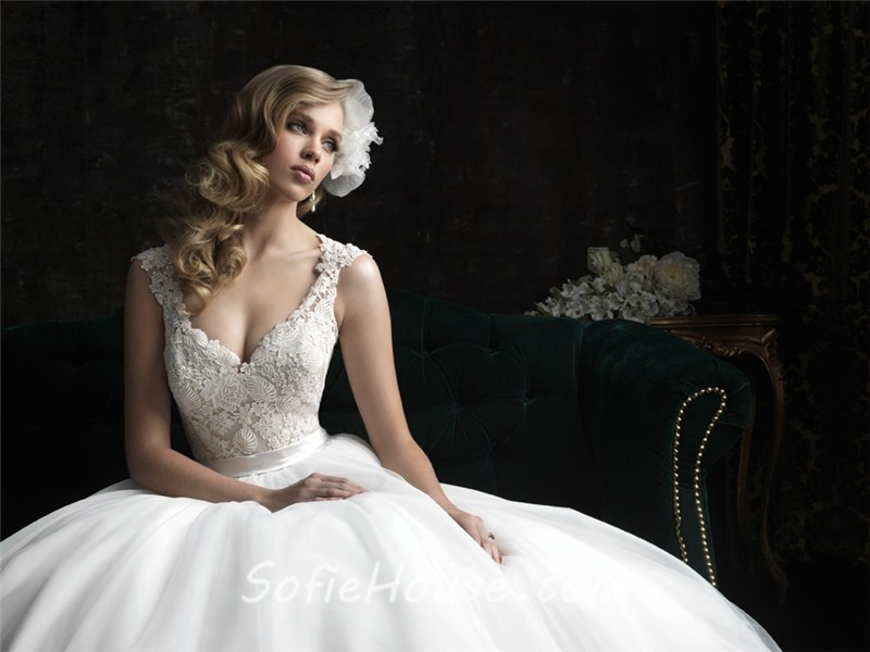 Princess ball gown v neck tulle lace wedding dress with for Belt for lace wedding dress