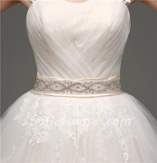 Puffy Ball Gown Keyhole Open Back Champagne Satin Lace Wedding ...
