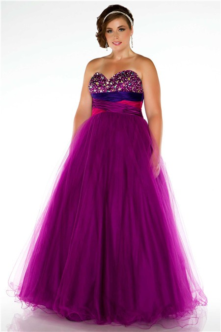 Royal A Line Strapless Empire Waist Long Purple Tulle Beaded Plus ...