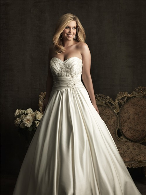 Royal a line sweetheart court train satin plus size for Plus size silk wedding dresses