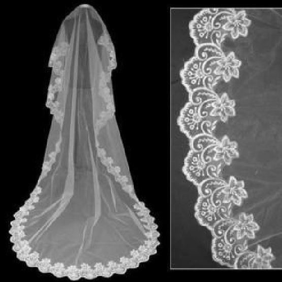Royal Cathedral Ivory Wedding Bridal Veil With Lace