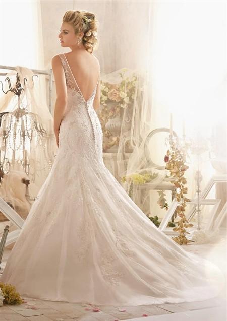 Slim a line bateau sheer illusion neckline deep v back for Wedding dresses with sheer illusion neckline