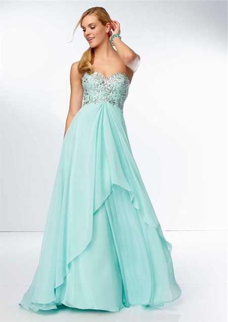 A Line Sweetheart Neckline Long Aqua Chiffon Beaded Party Prom Dress ...