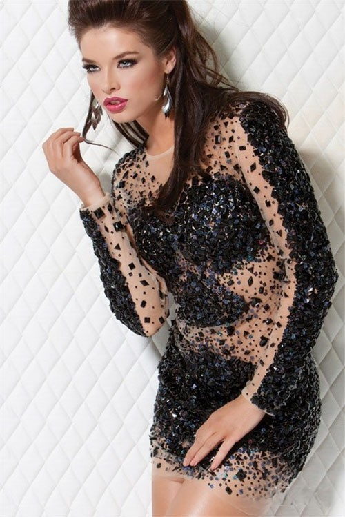 Tight Short/Mini Little Black Unique Beaded Club Cocktail Dress