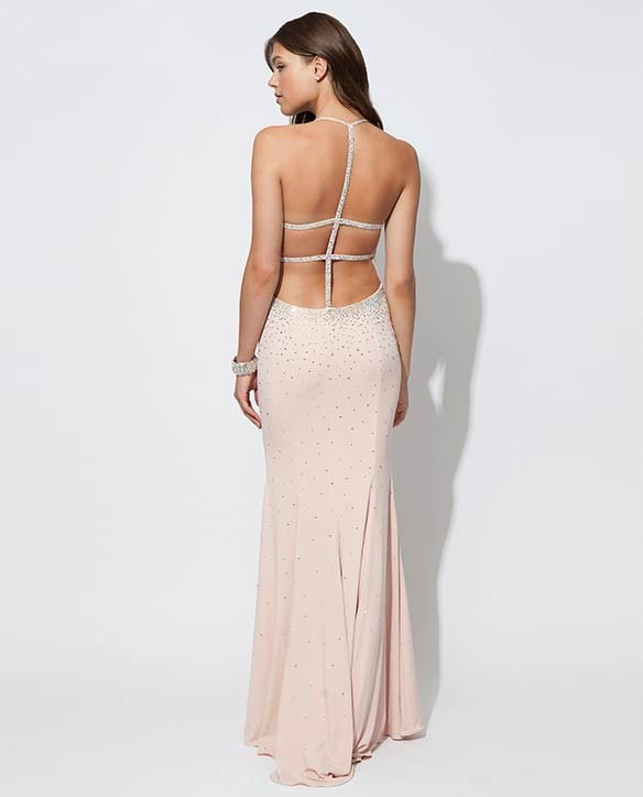 82d55ef943 Sexy Front Key Hole Backless Long Light Pink Chiffon Beaded Prom Dress With  Straps
