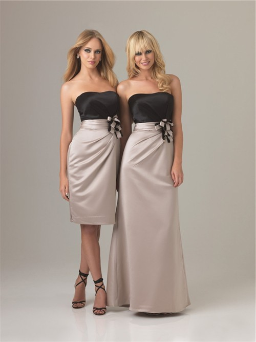 Sheath column sweetheart long two color silk bridesmaid dress for Two color wedding dress