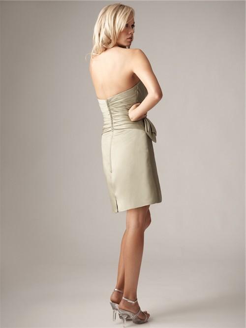 Sheath/Column sweetheart mini/short silk bridesmaid dress