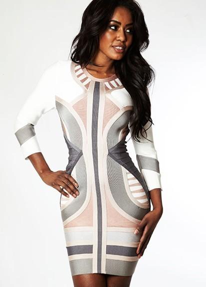 345efa38cb86 Short mini white striped bandage bodycon dress with long sleeve