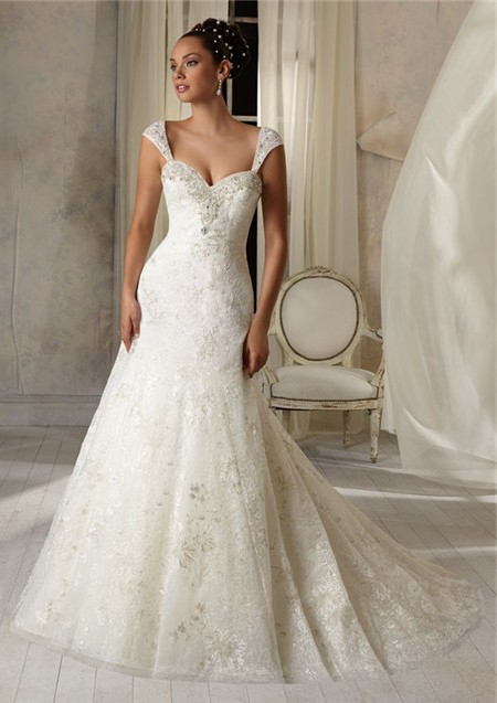Slim A Line Princess Sweetheart Tulle Lace Crystal Wedding Dress ...