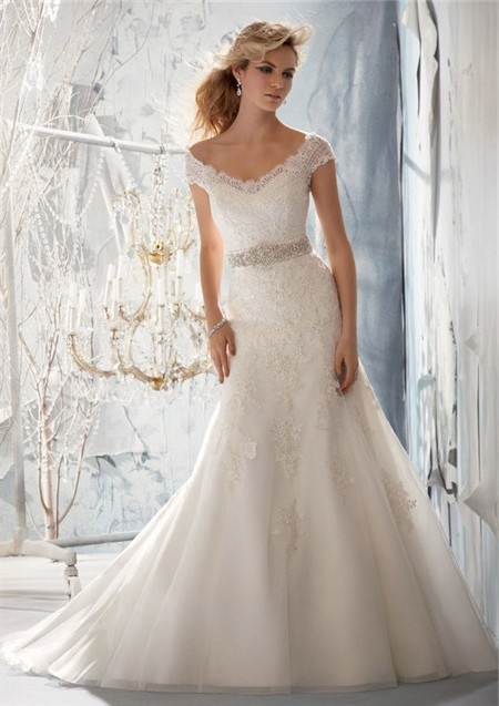 Slim A Line V Neck Cap Sleeve Tulle Lace Wedding Dress With Beading ...