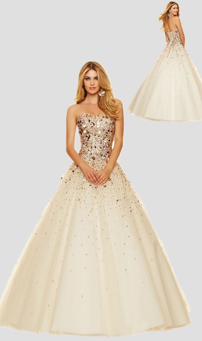 Sparkly Ball Gown Strapless Champagne Tulle Gold Beaded