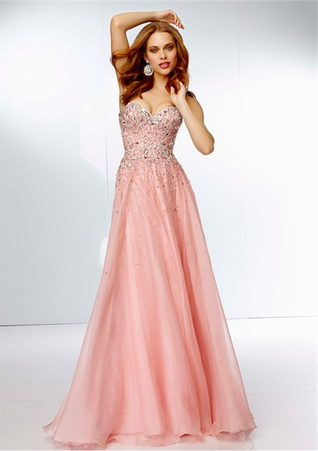 A Line Strapless Sweetheart Neckline Long Pink Chiffon Beaded Prom Dress