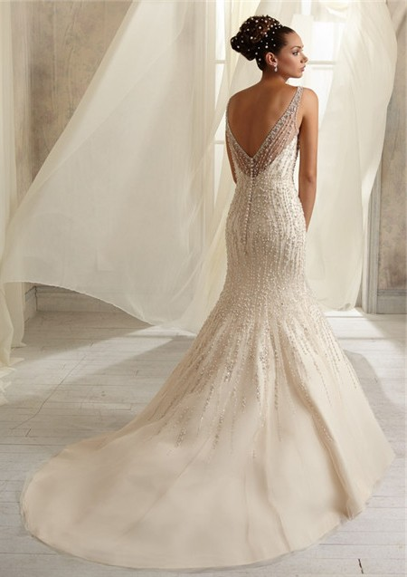Mermaid Sheer Illusion Neckline See Through Tulle Beaded Wedding Dress With Pearls V Back
