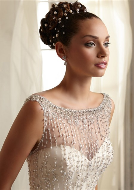 Mermaid Sheer Illusion Neckline See Through Tulle Beaded Wedding ...