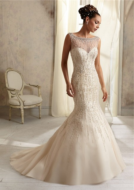 Mermaid sheer illusion neckline see through tulle beaded for Wedding dresses with sheer illusion neckline