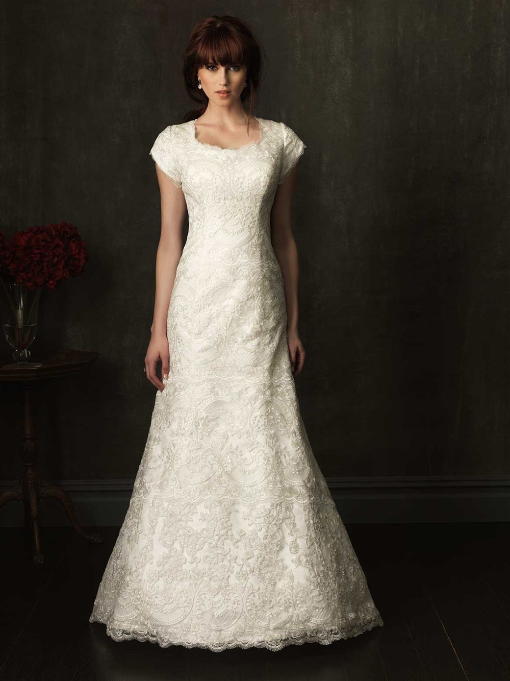 Fitted A Line Cap Sleeve Ivory Lace Modest Wedding Dress