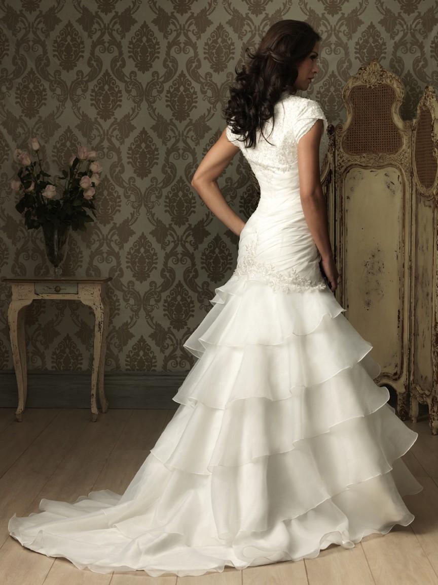 Trumpet mermaid cap sleeve organza ruffles wedding dress for Organza trumpet wedding dress
