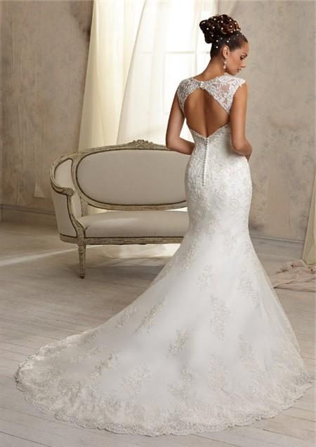 Unique Mermaid Sweetheart Cut Out Cap Sleeve Lace Wedding Dress Open ...