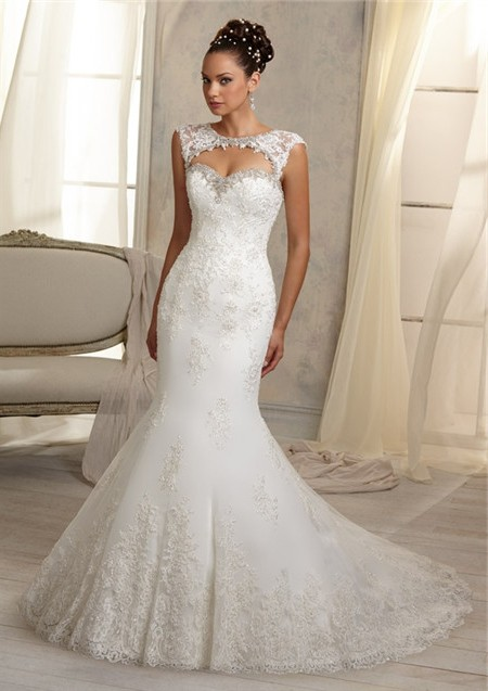 Mermaid Sweetheart Cut Out Cap Sleeve Lace Wedding Dress Open ...