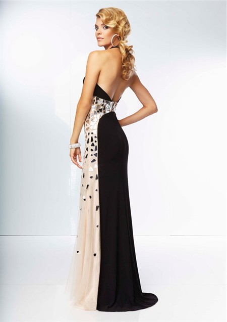 Long Black Backless Prom Dress with Illusion Neckline