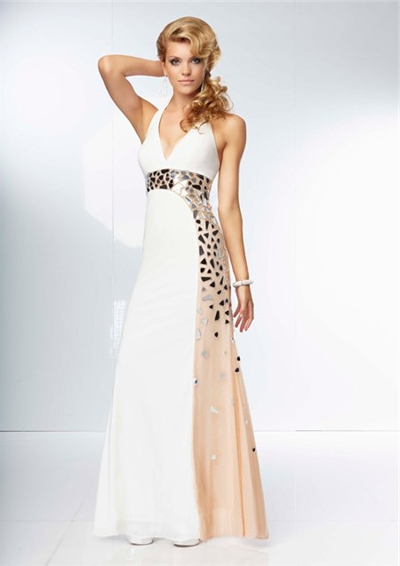 Unique Sheath Halter Backless Long Champagne Nude Black Chiffon Prom ...