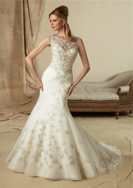 Vintage lace beaded wedding dresses