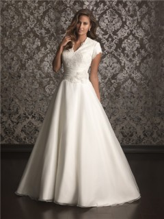 A line high neck chapel train organza lace simple wedding dress with short sleeves