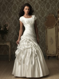 A line square neck court train cap sleeve satin ruched wedding dress