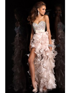 Charming Sweetheart Colorful Crystals Removable Bow High Low Ruffled Nude Pink Organza Prom Dress