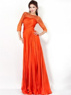 A Line Bateau Long Orange Chiffon Ruched Evening Prom Dress With Sleeves