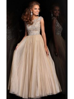 534e89062b A Line Bateau Neck Cap Sleeve Long Champagne Pleated Tulle Beading Prom  Dress V Back