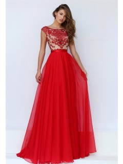 22a29638a005 A Line Bateau Neck Cap Sleeve Open Back Long Red Chiffon Beaded Prom Dress