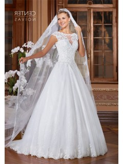 A Line Bateau Neckline Open Back Cap Sleeve Tulle Lace Glitter Wedding Dress