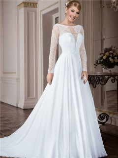 A Line Bateau Neckline Open Back Long Sleeve Tulle Beaded Wedding Dress